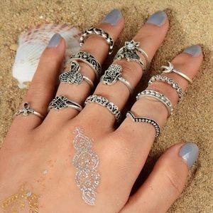 Boho Silver ring Set